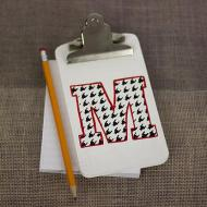 """M"" Houndstooth Clipboard"