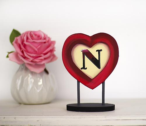 Monogrammed Quot N Quot Heart Stand Project By Decoart