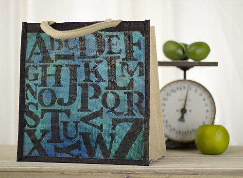 Alphabet Tote in Blues and Blacks