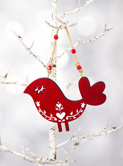 scandinavian red and white bird ornament