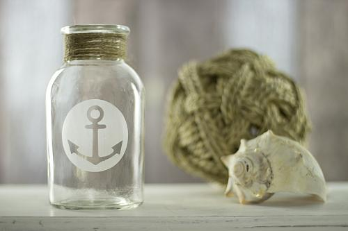Etched Anchor Embellished Vase Project By Decoart