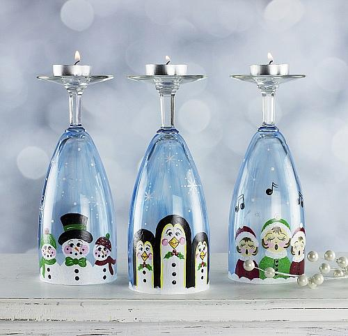 Wine Glass Christmas Candleholders - Project by DecoArt