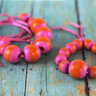 Pink Painted Beads