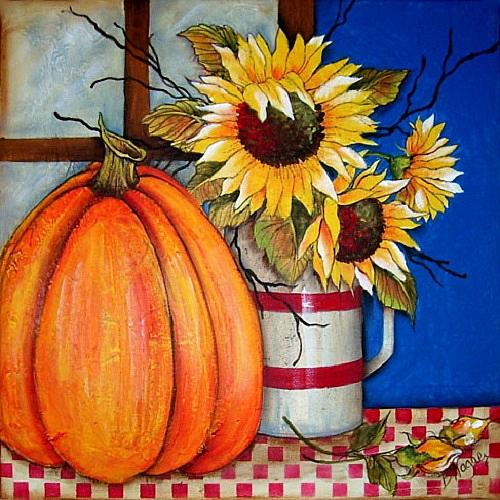 Sunflowers In Fall Wall Canvas Project By Decoart