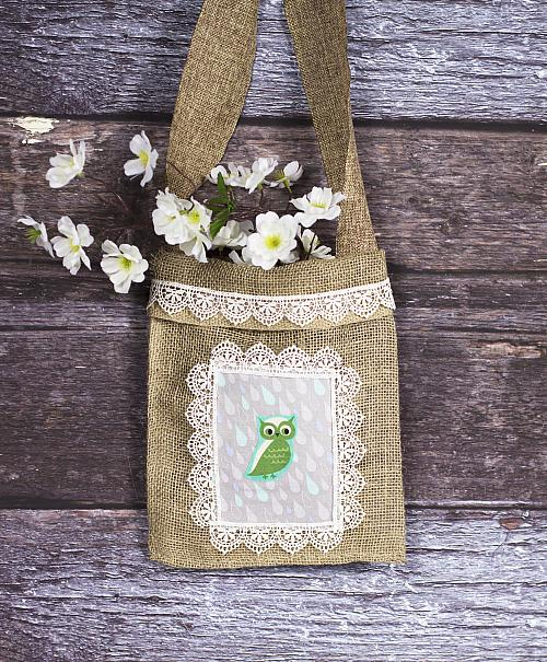 Burlap and Lace Owl Tote