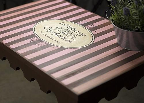 Brown and Pink Striped Chalky Finish Side Table