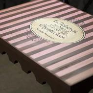 Brown and Pink Striped Side Table