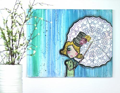 Quot Waiting In The Rain Quot Mixed Media Canvas Project By Decoart