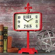 Red Metal Clock on Stand