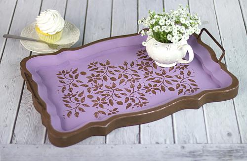 Floral Stenciled Tray