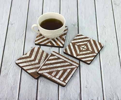 Stenciled Wooden Angular Motion Coasters