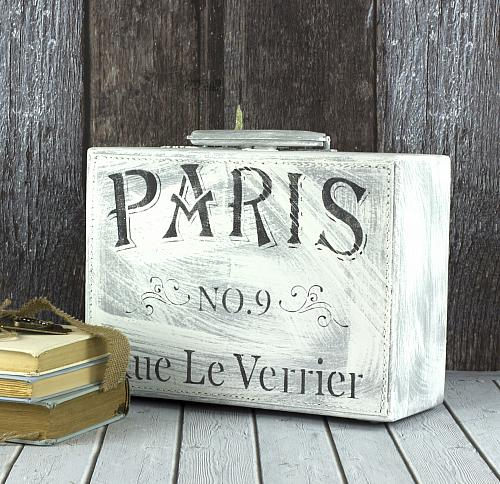 Traveling to Paris Chalky Finish Suitcase