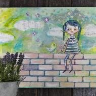 """""""Girl on a Wall"""" Canvas"""