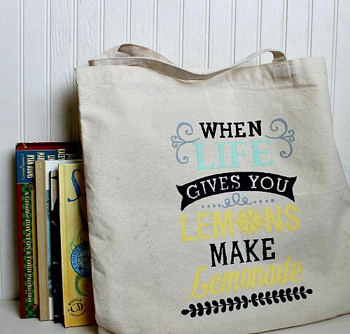 Canvas Tote Stenciled with Chalk Paint