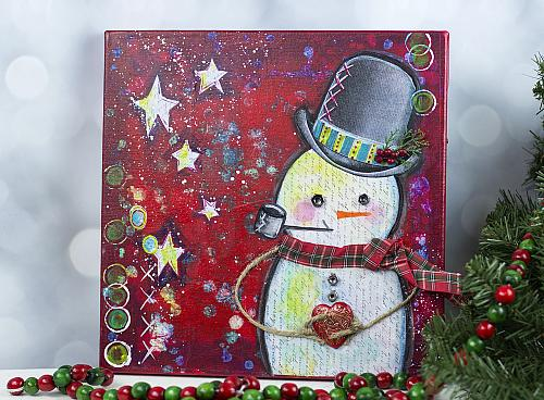 Mixed Media Snowman Canvas Project By Decoart