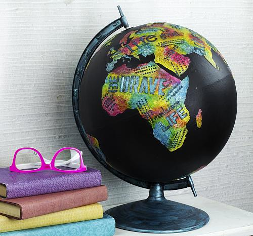 Color my World Upcycled Colorful Globe