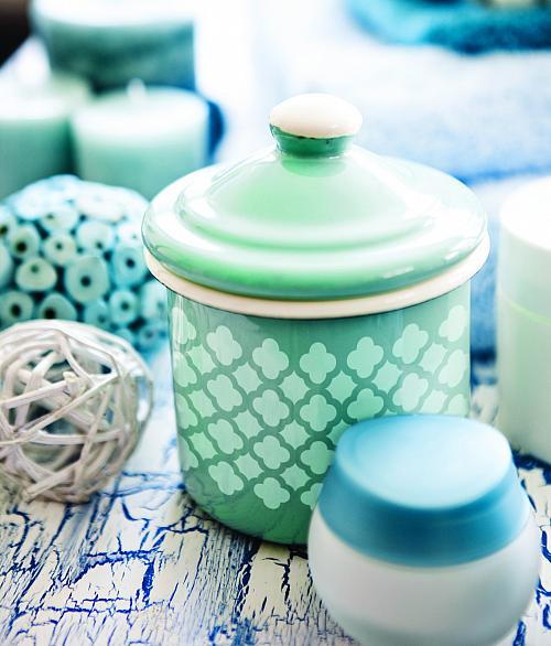 Quatrefoil Stenciled Ceramic Canister with Lid