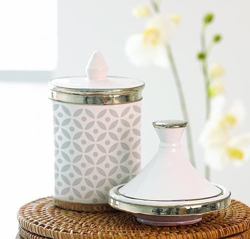 Elegant Astroid Stenciled Canister with Lid
