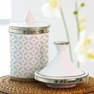 Elegant Stenciled Canister with Lid