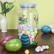 Blue Upcycled Easter Candy Jar