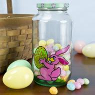Green Easter Candy Jar with Rabbit