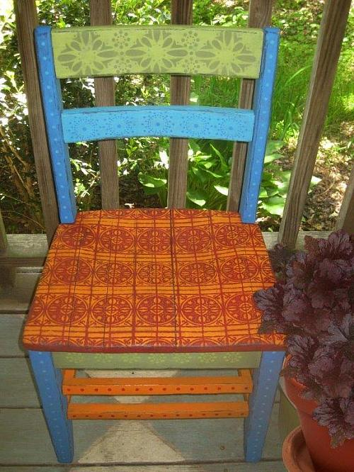 Colorful Stenciled Boho Chair   Project By DecoArt