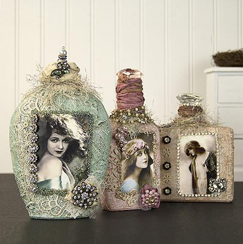 Vintage Altered Shabby Chic Bottles