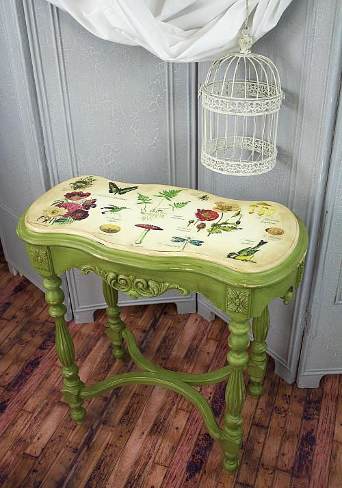Botanical Chalky Finish Side Table