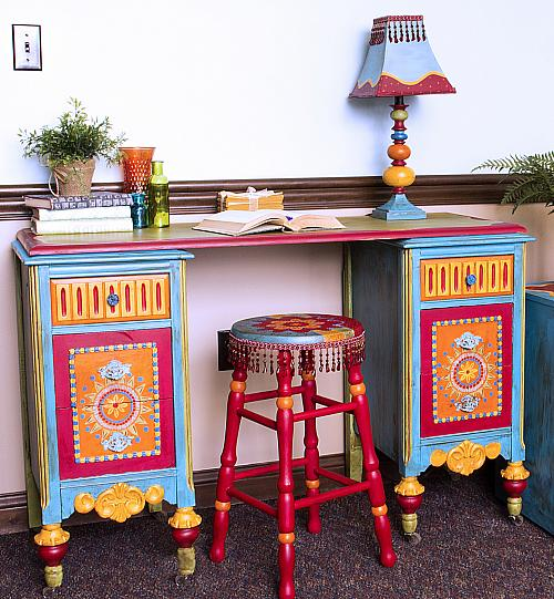 Antiqued Boho Upcycled Desk Project By Decoart