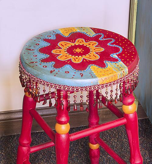 Colorful Boho Stool Project By Decoart
