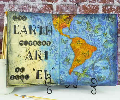 The Earth Without Art Journal Page - Project by DecoArt