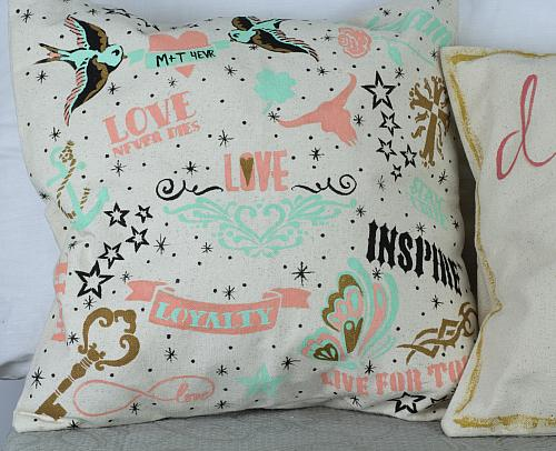 Stenciled Tattoo-Inspired Pillowcase