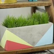 Tri-Colored Concrete Planter