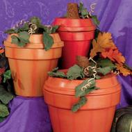 Terra Cotta Pot Pumpkin Trio