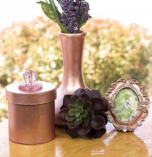 Rose Gold Metallic Lustre Frame And Trinkets Project By Decoart