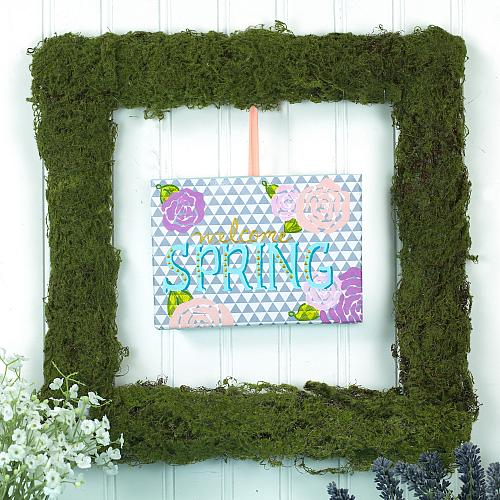 Spring Wreath with Painted Canvas