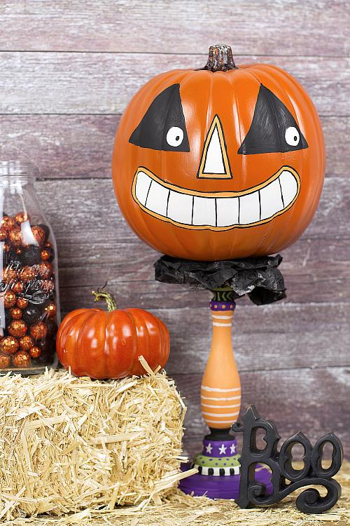 Painted Vintage Pumpkin Character Project By Decoart