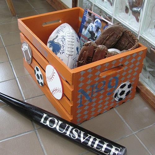 Stenciled Chalky Finish Sports Gear Crate