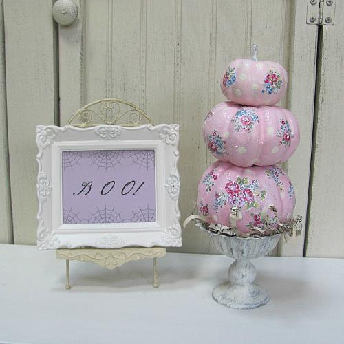 More Shabby Chic Halloween Interior Decor Ideas: Decoupaged Shabby Chic Pumpkin Topiary