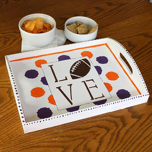 football team spirit serving tray
