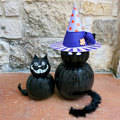 Black Pumpkin Cats With Witch's Hat
