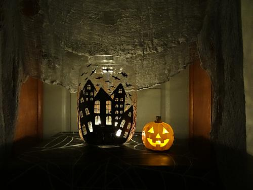 Haunted House Luminary With Flying Bats Project By Decoart
