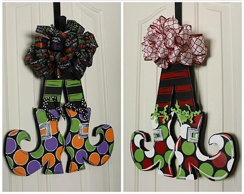 Reversible Witch and Elf Shoes Door Décor