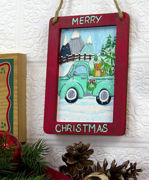 Quot Merry Christmas Quot Vintage Truck Hanging Project By Decoart