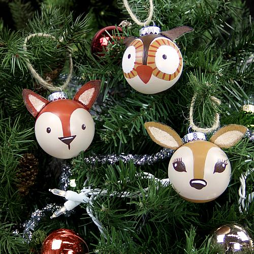 3 d painted woodland ornaments project by decoart for Cute christmas decorations