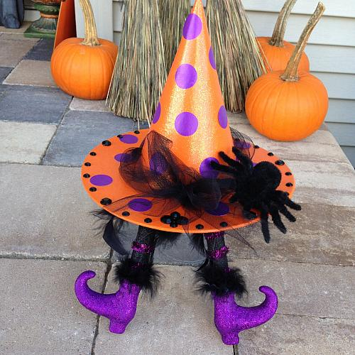 Glitter Polka Dot Witch Hat With Feet Project By Decoart