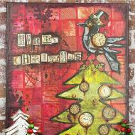 Christmas Crow Mixed Media Canvas