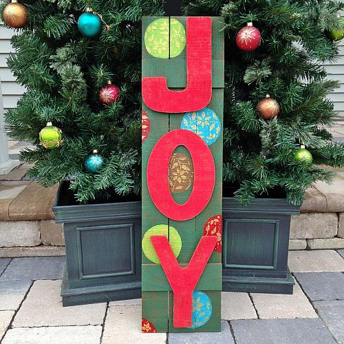 wooden joy outdoor holiday sign project by decoart - Joy Outdoor Christmas Decoration