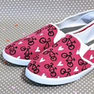 Bicycle Painted Canvas Shoes