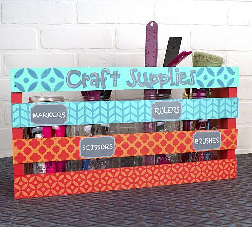 Craft Supplies Jar Crate Organizer Project By Decoart